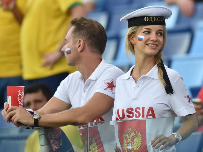 This Russian fan is loking the wrong way.