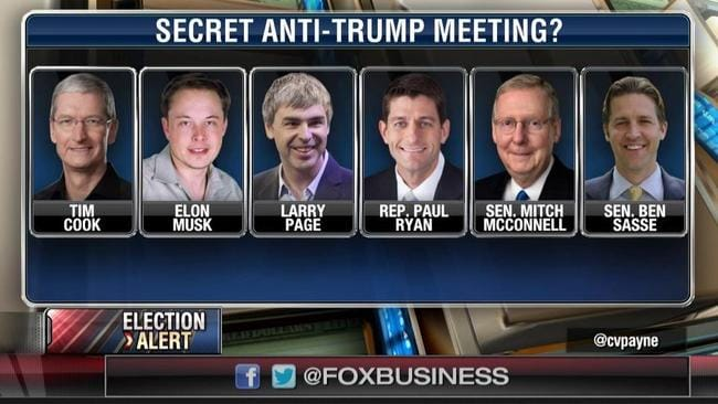 Fox News was in a tizzy over reports about the anti-Trump meeting.