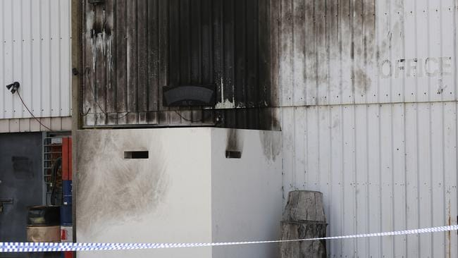 Damage to the Bandidos clubhouse after a firebomb was detonated on Australia Day.