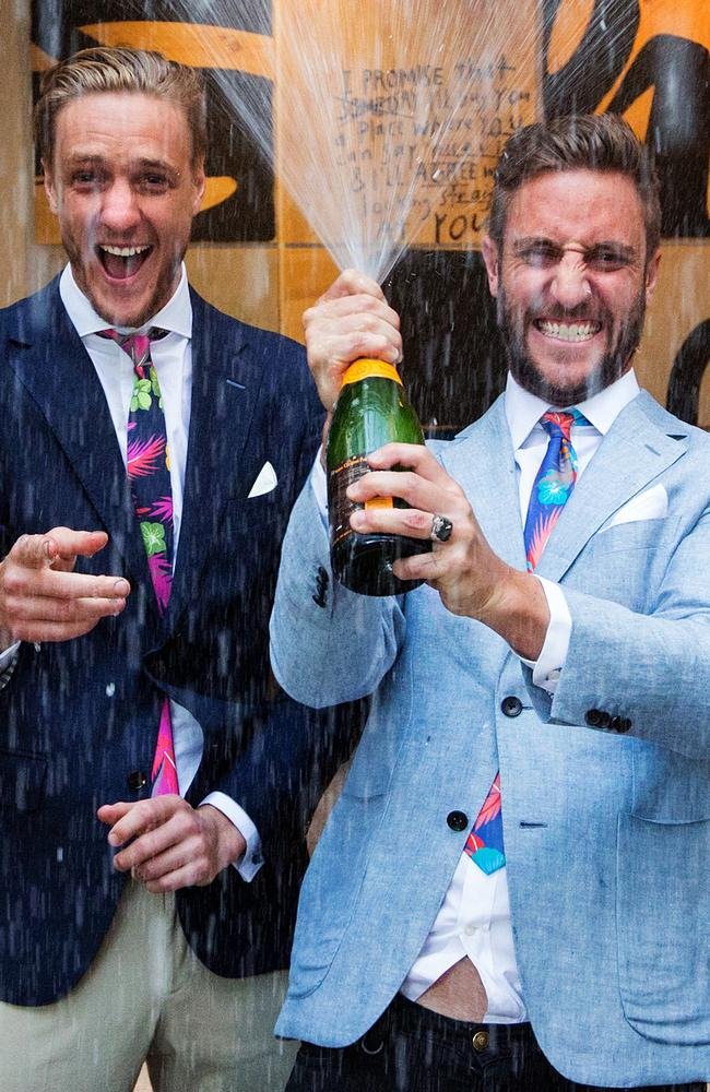 The boys triumph ... winners Simon and Shannon earned $335,000 profit when their apartment sold for $1,910,000. Picture: Mark Stewart.