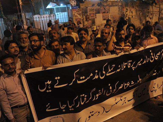 Rally ... Pakistani journalists protest against the attack on Hamid Mir in Karachi.