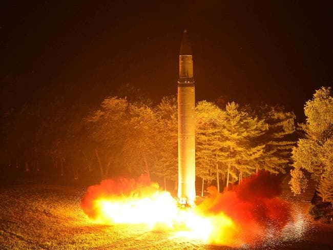 The launch of a Hwasong-14 intercontinental ballistic missile at an undisclosed location in North Korea. Picture: Korean Central News Agency/Korea News Service via AP