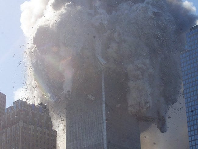 The North tower was hit first and collapsed second, possibly because it was hit higher.