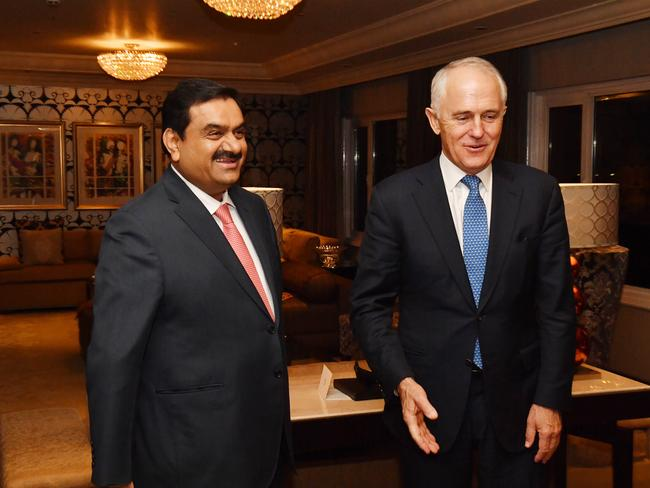 Australian Prime Minister Malcolm Turnbull (right) meets with India's Adani Group founder and chairman Gautam Adani in New Delhi, India, Monday, April 10, 2017. Picture: Mick Tsikas/AAP.