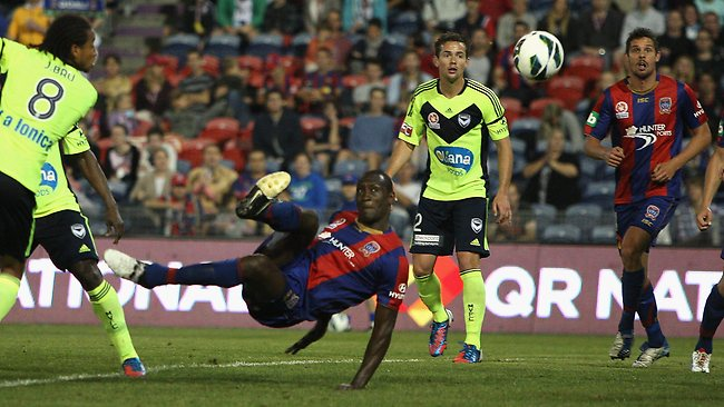 Newcastle Jets marquee man Emile Heskey nets another goal.