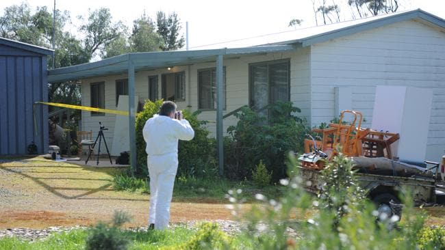 Investigators at the scene of the murder in Callington the day after Pirjo Kemppainen was found dead.
