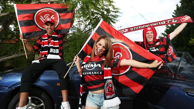 <i>Western Sydney fans Maria Laura Quevedo, 29, Christian Layland, 24, and Chris Anabalon, 26, are so desperate to get to the grand final they are travelling by car from Sydney. </i>