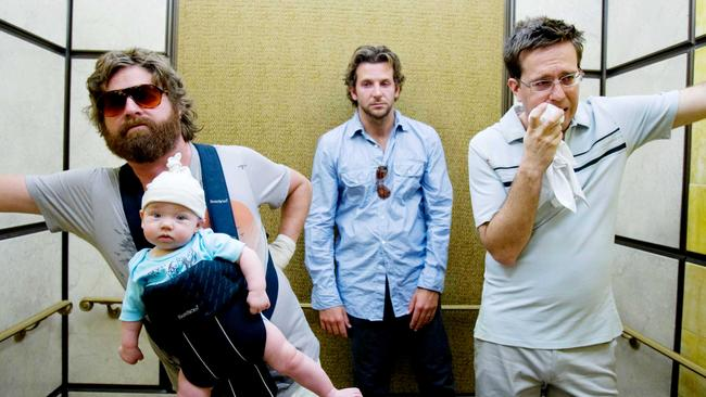 Zach Galifianakis as Alan, Bradley Cooper as Phil and Ed Helms as Stu in The Hangover.