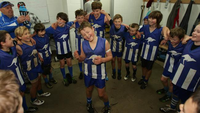 Jack and his Newstead teammates celebrate their 75-0 win against Trentham. Picture: Norm Oorloff