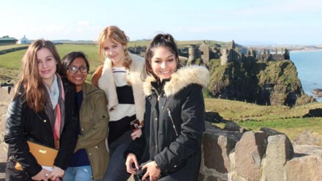 Aussie travellers in Brussels: (From left) Mia Egerton-Warburton, 20; Dilusha Jayasekara, 21; Ellie Rose, 20; Jyotsna Singh, 22.