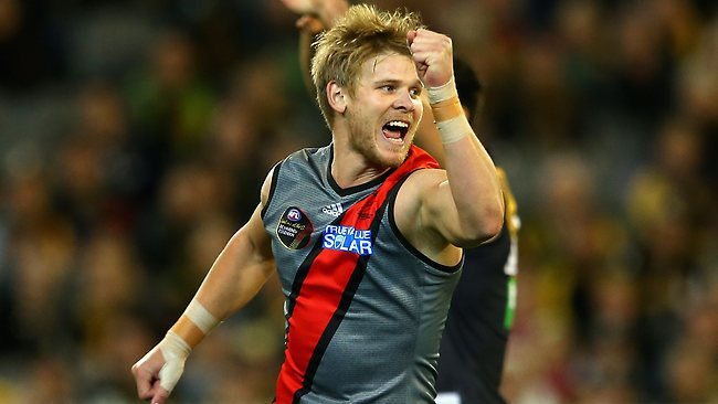 Michael Hurley of the Bombers celebrates a goal during the round nine AFL match against the Richmond Tigers at the Melbourne Cricket Ground. Picture: Quinn Rooney
