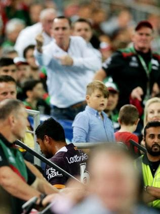 Souths fans boo as Anthony Milford goes off for assessment. Picture: Mark Evans
