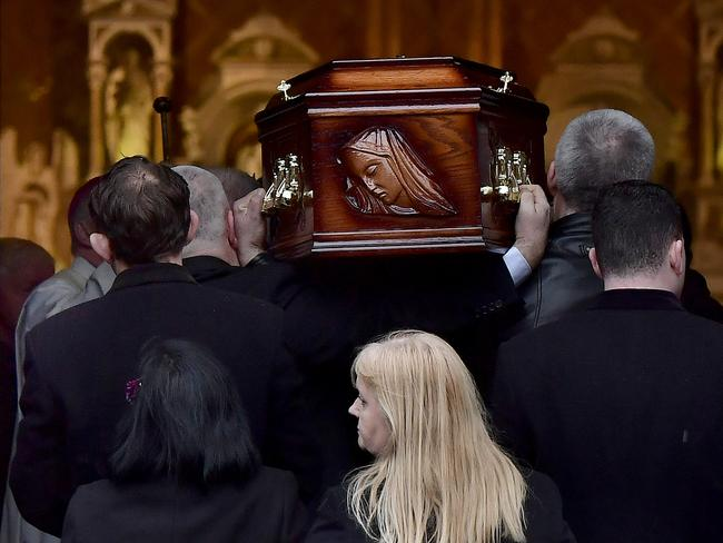 Eileen O'Riordan, mother of the late Dolores O'Riordan, follows her daughter's coffin into St. Joseph's church on January 21, 2018 in Limerick, Ireland. Picture: Getty