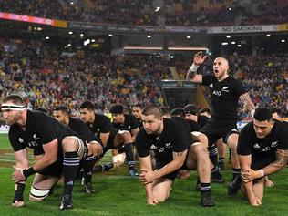 TJ Perenara of the All Blacks leads the Haka during the Rugby Championship, Bledisloe Cup match between the Australian Wallabies and the New Zealand All Blacks at Suncorp Stadium in Brisbane, Saturday, October 21, 2017. (AAP Image/Dave Hunt) NO ARCHIVING