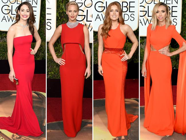 Tight and bright ... Emmy Rossum, Jennifer Lawrence, Amy Adams and Giuliana Rancic. Picture: Getty