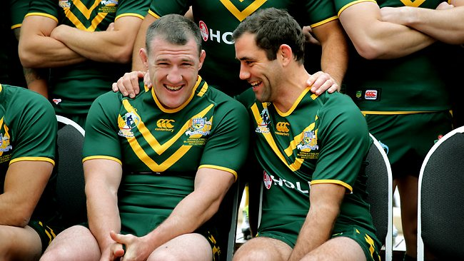 Paul Gallen and Cameron Smith share a joke during the Kangaroos' team photo session. Picture: Gregg Porteous