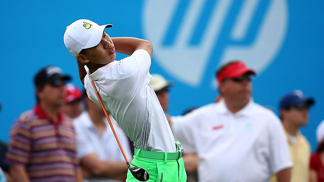 TAKING ON THE PROS: Guan Tianlang of China hits a shot during the second round of the 2013 HP Byron Nelson Championship in Irving, Texas. Picture: Tom Pennington