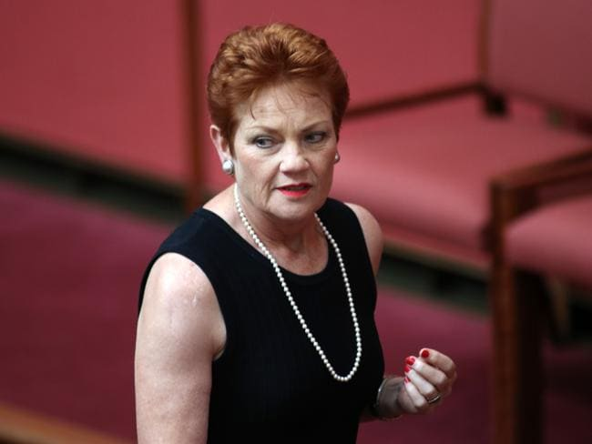 Senator Pauline Hanson was not happy leaving the Senate yesterday. Picture: Gary Ramage
