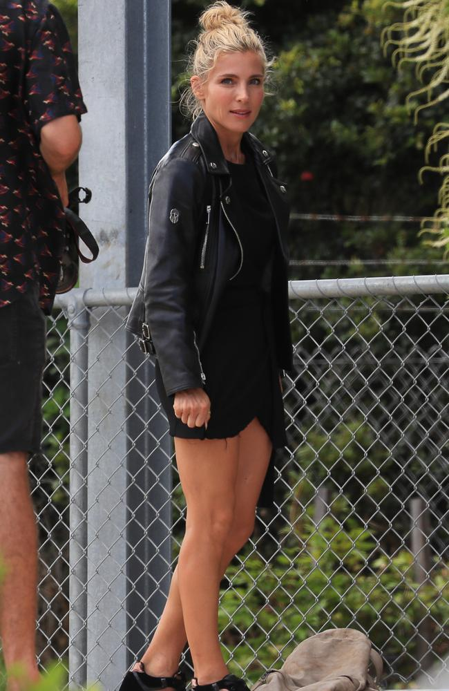 Biker chic! Elsa Pataky flaunted her famous figure in a black mini. Picture: Media Mode