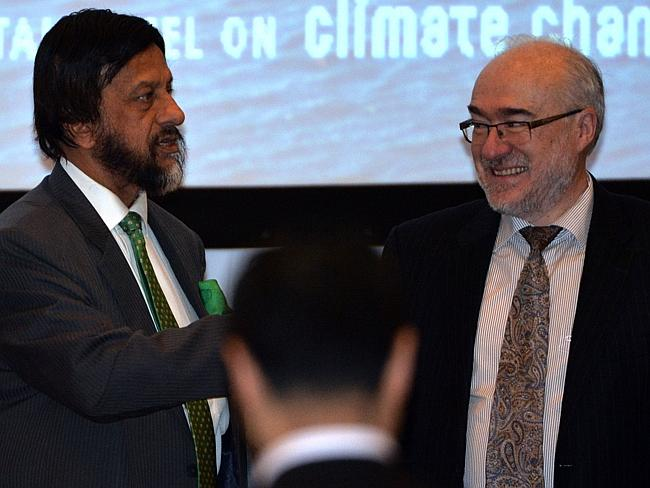 World Meteorological Organisation secretary general Michel Jarraud, right, chats with Intergovernmental Panel on Climate Change chairman Rajendra Pachauri before a press conference. Picture: AFP