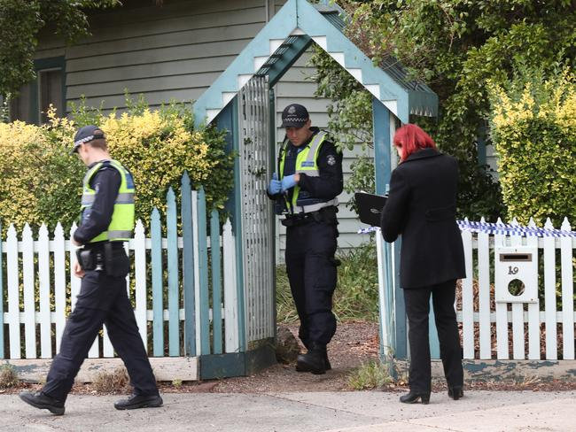Police investigate the death. Picture: David Crosling