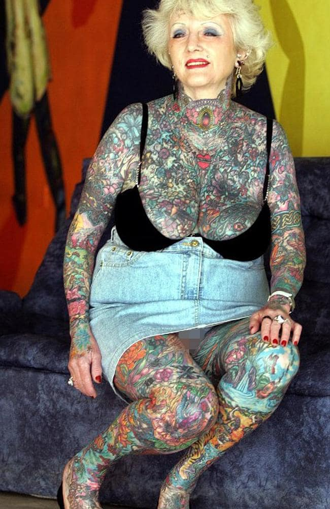 Briton Isobel Varley, 69, the world's eldest tattooed woman according to the Guinness Book of Records, poses at a hotel in Buenos Aires, 07 July, 2005. Varley arrived in Argentina to take part this weekend in the jury of the 1st International Tattoo Convention. AFP PHOTO/ALI BURAFI