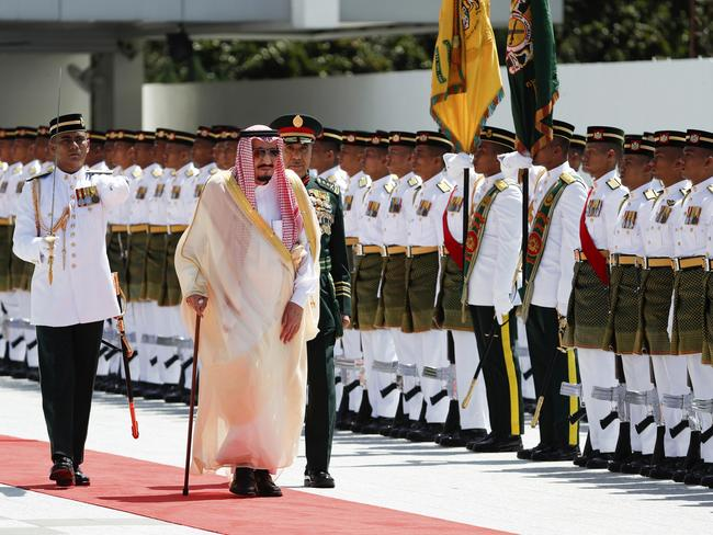 King Salman will arrive in Indonesia today after visiting Malaysia last week. Picture: Vincent Thian)