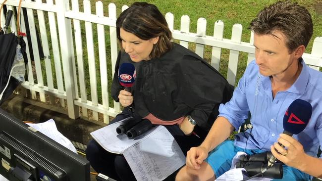 Kelli Underwood and Anthony Hudson had to call the GWS v Carlton match from boundary line in the second term. Picture: Fox Footy