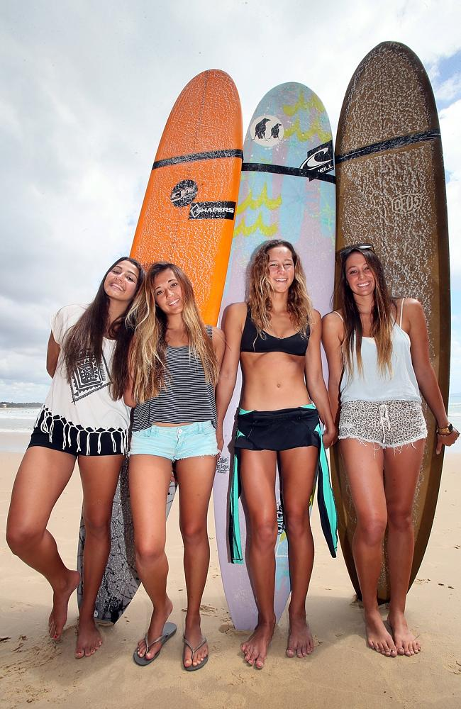 Hawaiian longboarders (from left) Gabby Yester, Launa Courtois, Honolua Blomfield and Sie