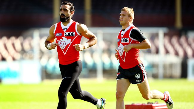 Goodes trains with Swans