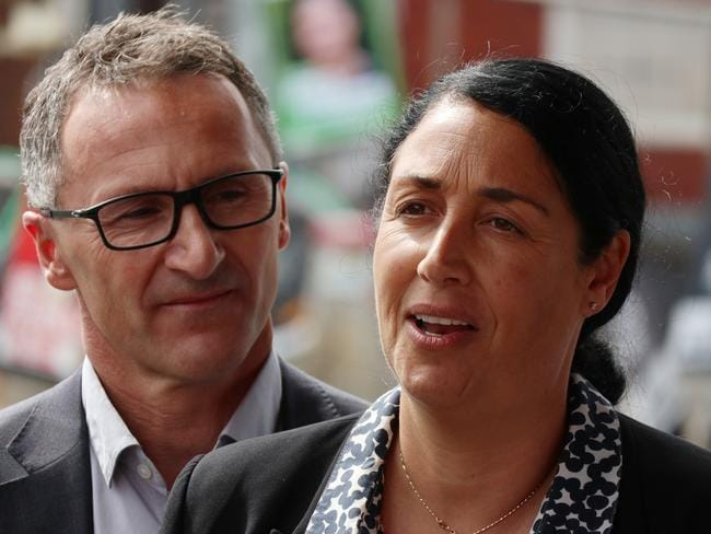 Greens leader, Senator Richard Di Natale, on the campaign trail with candidate Alex Bhathal, who lost Saturday's by-election. Picture: AAP/Alex Murray