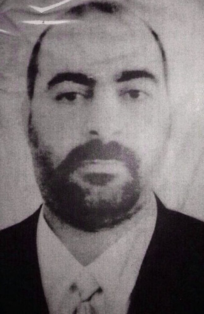 This is one of two undated images which purportedly shows Abu Bakr al-Baghdadi. Picture: iraqi Interior Ministry/AP