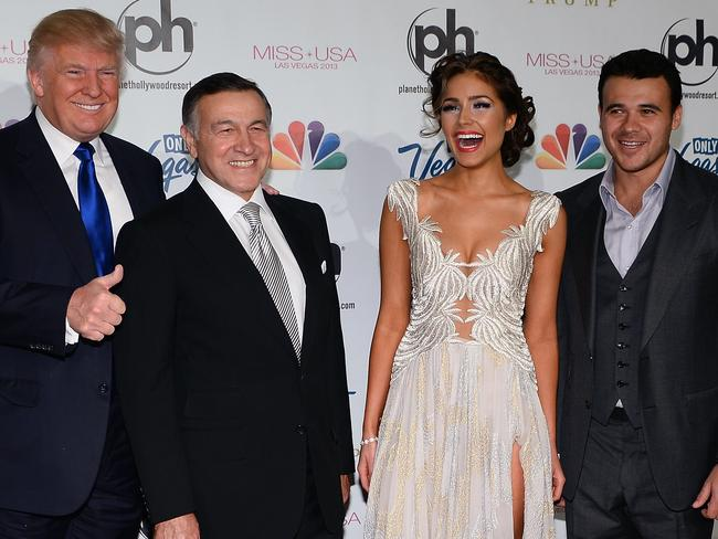 Donald Trump, Russian businessman Aras Agalarov, Miss Universe 2012 Olivia Culpo and Russian singer Emin Agalarov. Aras Agalarov and his son and singer Emin Agalarov are believed to have been involved in organising the meeting between President Donald Trump's oldest son Donald Jr. and Russian lawyer Natalia Veselnitskaya. Picture: Getty