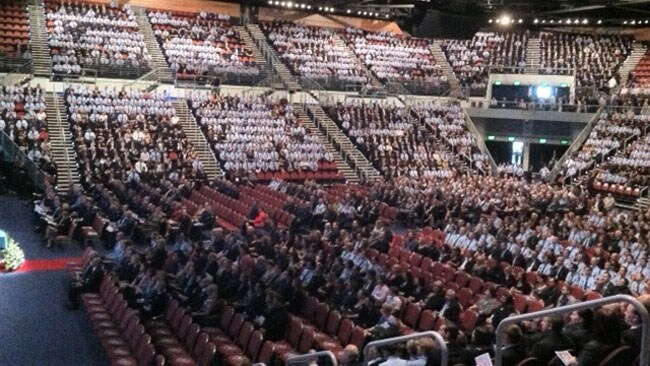 A sea of blue inside the Gold Coast Convention Centre for the funeral of slain police officer Damian Leeding.
