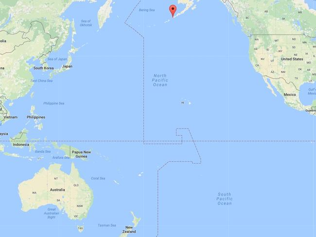 The Aleutian Islands are situated in the Pacific Ocean about 98km northwest of Dutch Harbor, Alaska, US. Picture: Google Maps