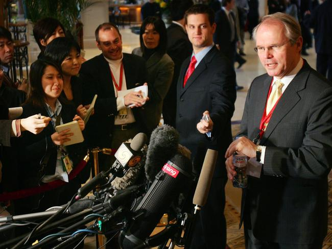 Christopher Hill (R) speaking to media about a landmark agreement on disarming North Korea.