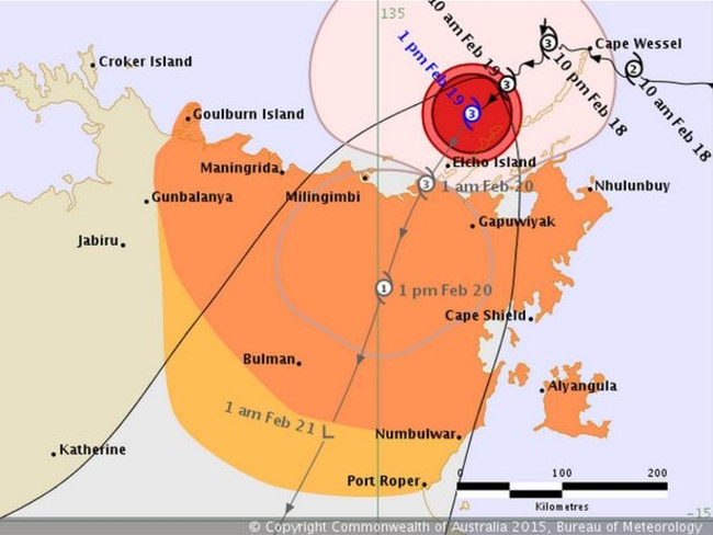 Category three Cylone Lam approaching the NT.