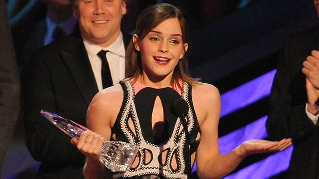 Emma Watson accepts the award for favorite dramatic movie actress at the Peoples Choice Awards. Picture: Getty