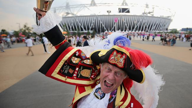 Town crier Tony Appleton outside the Olympic Stadium ahead of the London 2012 Olympics.