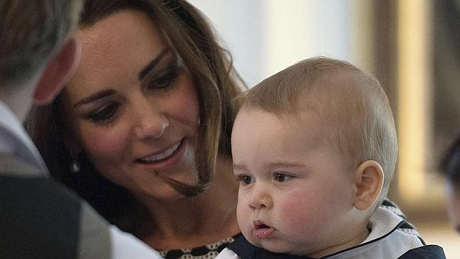 Pride and joy ... litte George is never far from the watchful eye of his mother, Catherine.