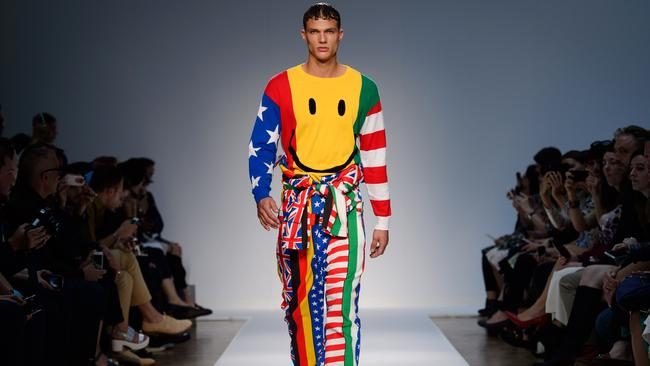 A model wears a design from the Moschino.