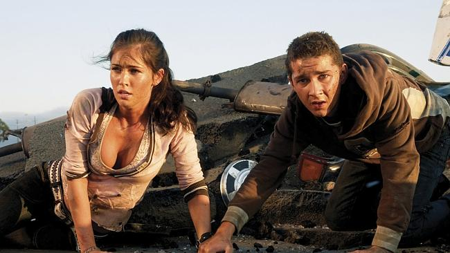 "Megan Fox with Shia LaBeouf in ""Transformers""."