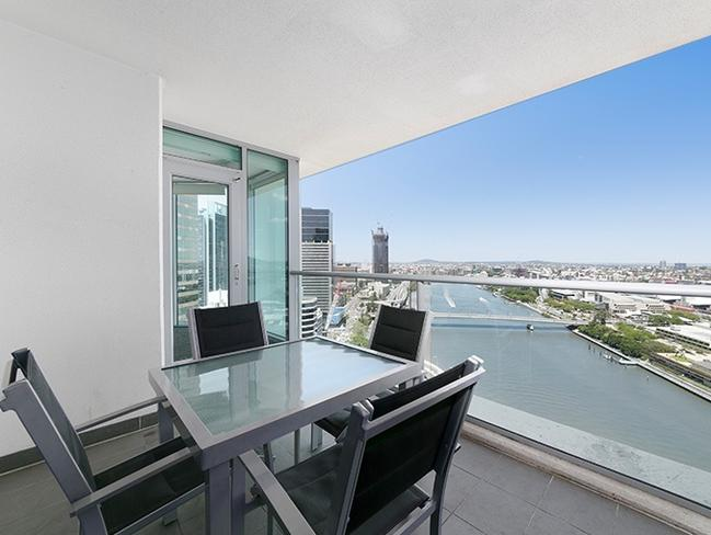 This apartment in Brisbane has uninterrupted views of the Brisbane River. Picture: Experience Realty.