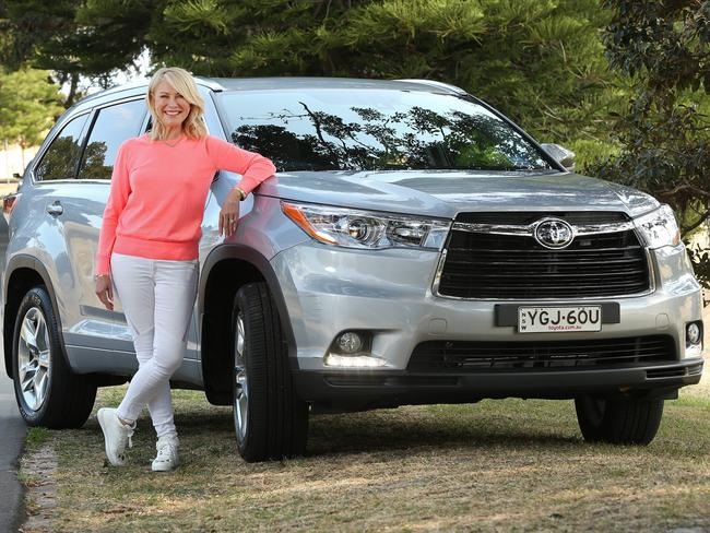 Kerri-Anne Kennerley with her Toyota Kluger.  <i>Picture: Richard Dobson</i>