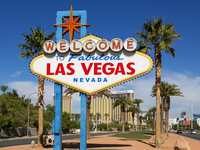 ESCAPE: NEVADA BRIGHT LIGHTS  ..  for Scott Podmore story  ..  USA, Nevada, Las Vegas, welcome sign on Las Vegas. Picture: Getty