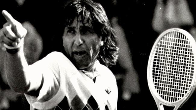 """""""You talkin' to me?"""" Ilie 'Nasty' Nastase playing at Brisbane's Milton Park complex in 1983."""