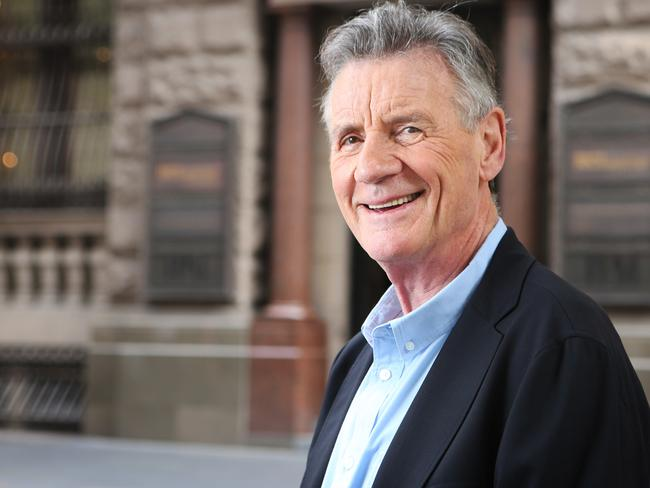 Michael Palin, pictured at Martin Place, Sydney, is looking good for 75. Picture: Bob Barker