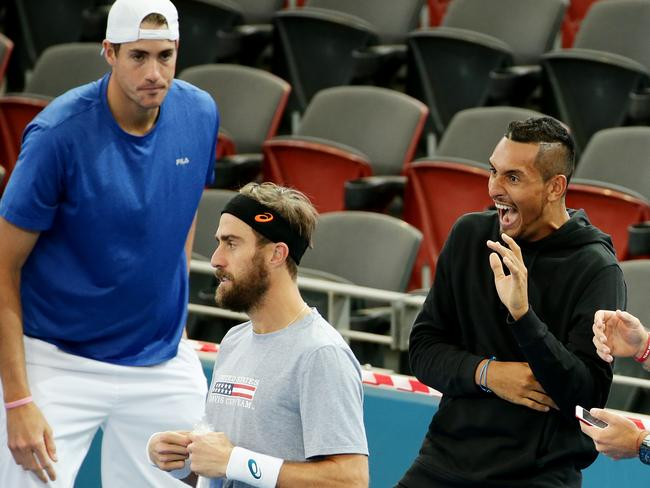 John Isner eyes off Nick Kyrgios. Picture: Mark Calleja
