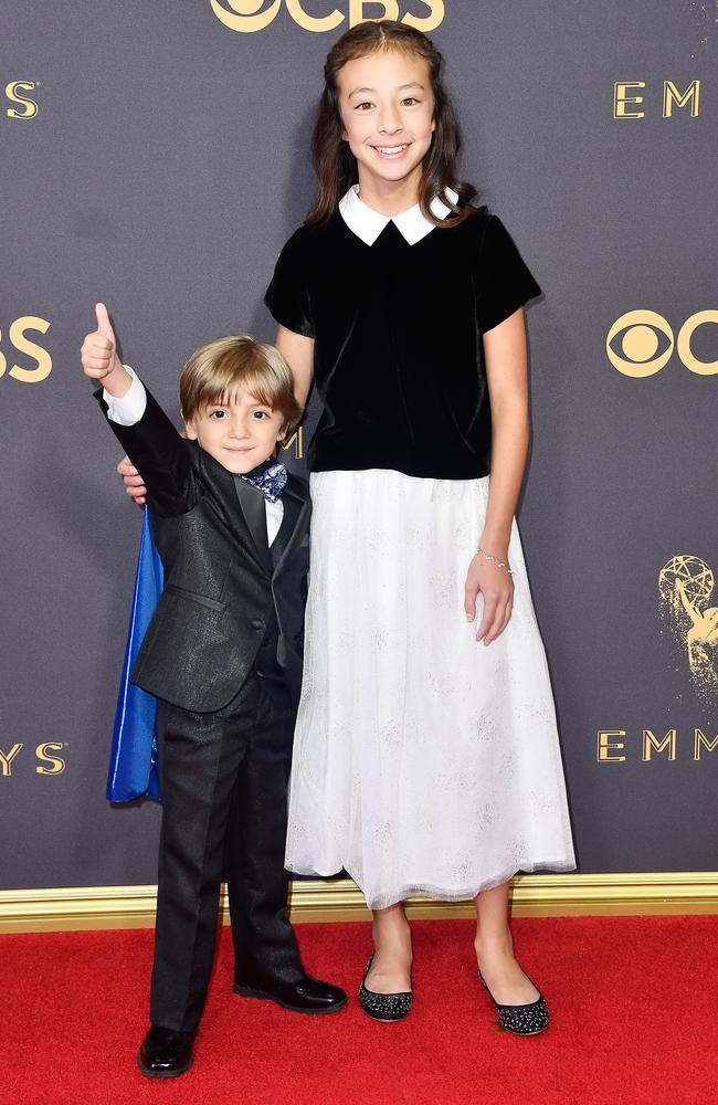 Jeremy Maguire and Aubrey Anderson-Emmons attend the 69th Annual Primetime Emmy Awards at Microsoft Theater on September 17, 2017 in Los Angeles. Picture: Getty