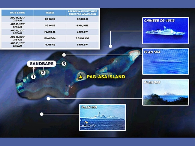 A compliation of photographs and sighting reports compiled by a Philippines congressman showing Chinese naval and coast guard vessels near Thitu/Pagasa Island.